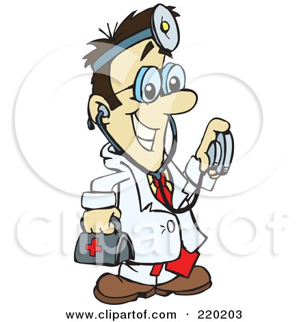 Royalty-Free (RF) Clipart Illustration of a Male Asian Doctor Carrying A First Aid Kit, Wearing A Headlamp And Holding A Stethoscope by Dennis Holmes Designs