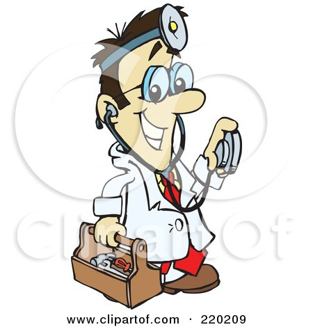 Royalty-Free (RF) Clipart Illustration of a Male Asian Doctor Carrying A Tool Box, Wearing A Headlamp And Holding A Stethoscope by Dennis Holmes Designs
