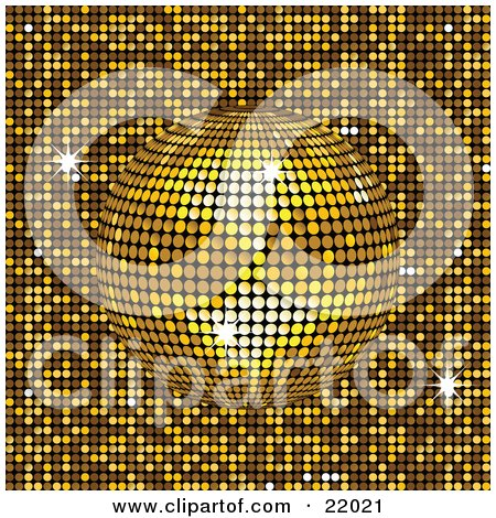Clipart Picture of a Sparkling Yellow Mirror Disco Ball Spinning Over A Golden Background by elaineitalia