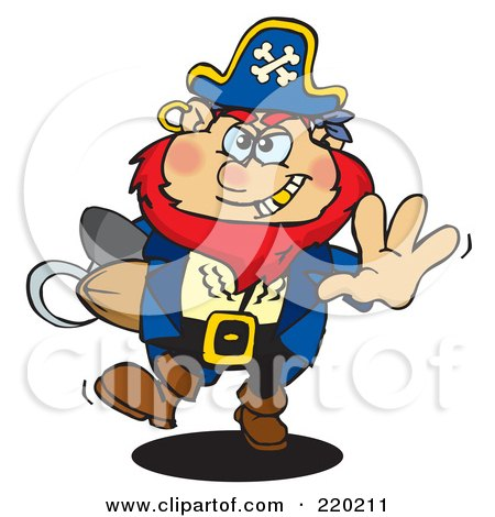 Royalty-Free (RF) Clipart Illustration of a Running Pirate With A Goold Tooth, A Rugby Football In Arm by Dennis Holmes Designs