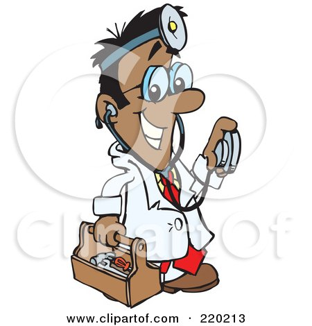 Royalty-Free (RF) Clipart Illustration of a Male Indian, Hispanic, Or Black Doctor Carrying A Tool Box, Wearing A Headlamp And Holding A Stethoscope by Dennis Holmes Designs
