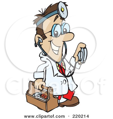 Royalty-Free (RF) Clipart Illustration of a Male Caucasian Doctor Carrying A Tool Box, Wearing A Headlamp And Holding A Stethoscope by Dennis Holmes Designs