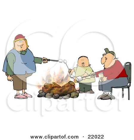 Clipart Illustration of a White Family With Two Parents And An Only Child, A Boy, Roasting Marshmallows Over A Camp Fire While Camping by djart