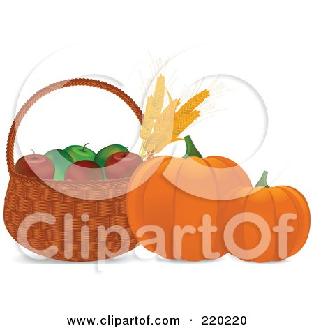 Royalty-Free (RF) Clipart Illustration of Pumpkins By A Basket Of Wheat And Apples  by elaineitalia