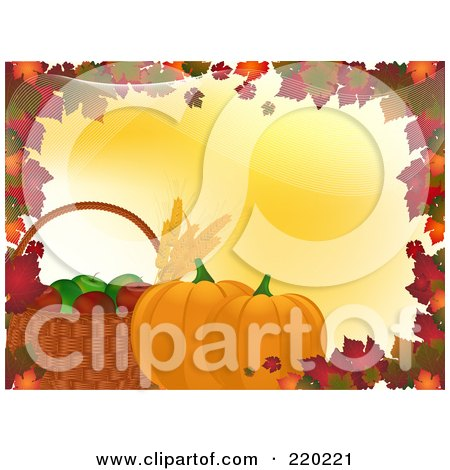 Royalty-Free (RF) Clipart Illustration of a Border Of Autumn Leaves With A Basket Of Apples And Leaves With Pumpkins On Yellow by elaineitalia