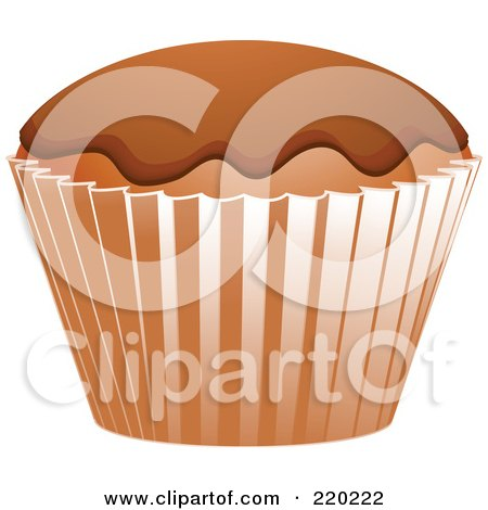 Royalty-Free (RF) Clipart Illustration of a Chocolate Cupcake With Chocolate Frosting In A Brown Wrapper by elaineitalia