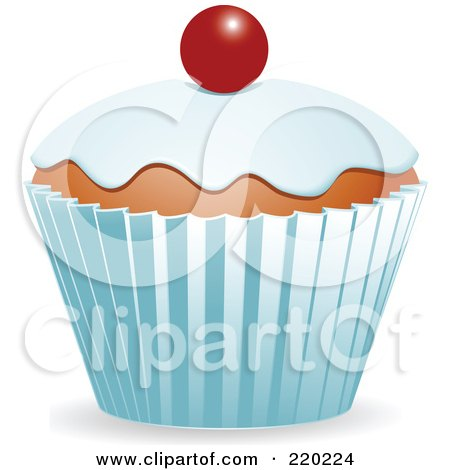 Royalty-Free (RF) Clipart Illustration of a Cupcake With Vanilla Frosting And A Single Cherry by elaineitalia