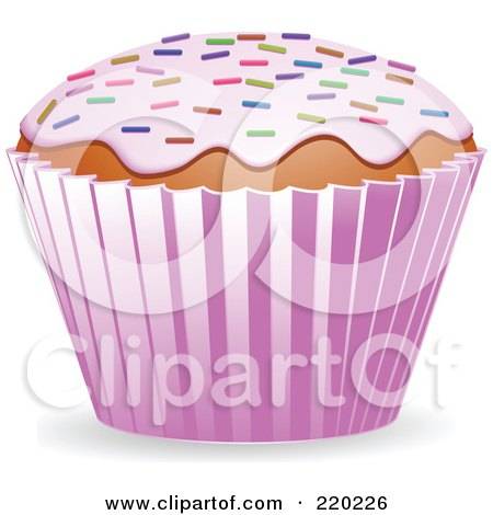 Royalty-Free (RF) Clipart Illustration of a Cupcake With Strawberry Frosting And Colored Springkles by elaineitalia