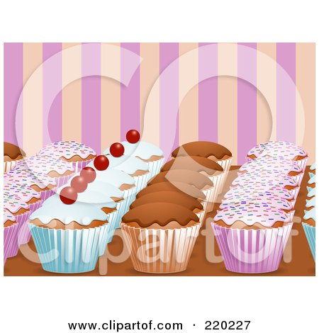 Royalty-Free (RF) Clipart Illustration of Rows Of Decorated Cupcakes On A Counter Top, Over Pink And Orange Stripes by elaineitalia