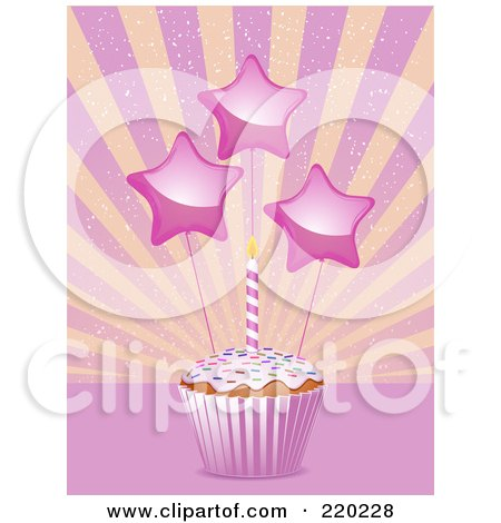 Star Decorations And A Birthday Candle On A Cupcake In A Pink Wrapper Posters, Art Prints