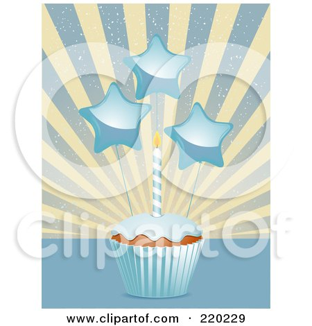Royalty-Free (RF) Clipart Illustration of Star Decorations And A Birthday Candle On A Cupcake In A Blue Wrapper by elaineitalia