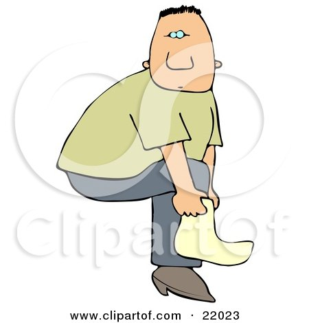 Clipart Illustration of a White Man Slipping A Cover Over His Boot Or A Sock On His Foot by djart