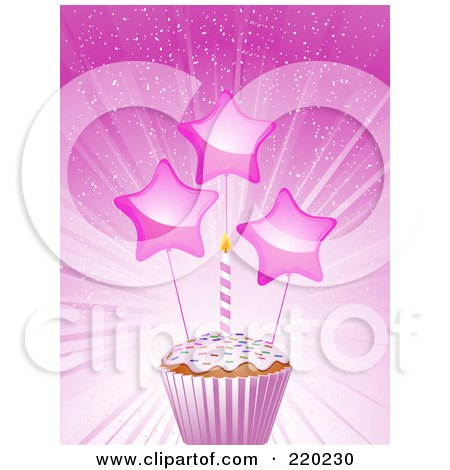 Royalty-Free (RF) Clipart Illustration of Shiny Stars And A Birthday Candle On A Cupcake In A Pink Wrapper by elaineitalia
