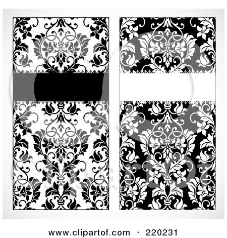 Royalty-Free (RF) Clipart Illustration of a Digital Collage Of Tall Black And White Floral Invite Designs by BestVector