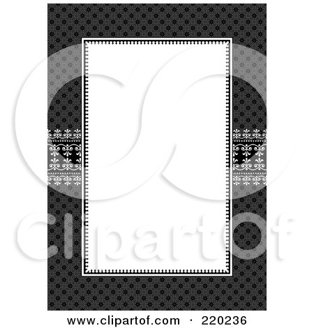 Royalty-Free (RF) Clipart Illustration of a Formal Invitation Design Of A Large White Box Over A Dark Pattern by BestVector