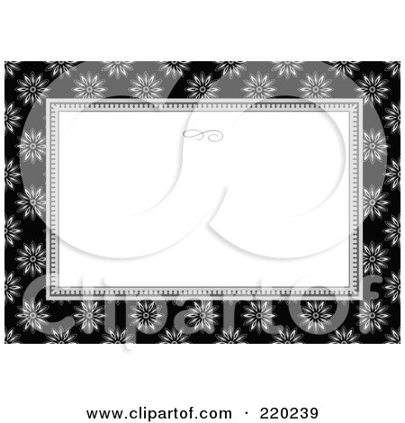 Royalty-Free (RF) Clipart Illustration of a Formal Black And White Floral Invitation Border With Copyspace - 52 by BestVector