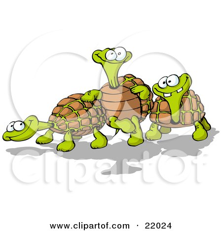 Clipart Illustration of a Three Goofy Tortoise Turtles, One Leaning Against Another by Holger Bogen