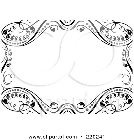 Royalty-Free (RF) Clipart Illustration of an Ornate Border Of Black Leafy Vines Around White Space by BestVector