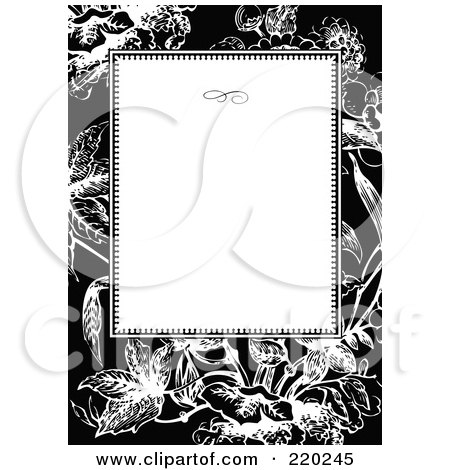Royalty-Free (RF) Clipart Illustration of a Formal Invitation Design Of A White Box Over A Black And White Iris Pattern by BestVector