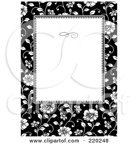 Royalty-Free (RF) Clipart Illustration of a Formal Black And White Floral Invitation Border With Copyspace - 19 by BestVector