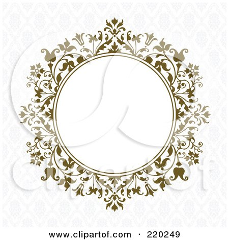 Royalty-Free (RF) Clipart Illustration of a Formal Invitation Design Of A Brown Floral Circle With White Space On A Gray Pattern by BestVector