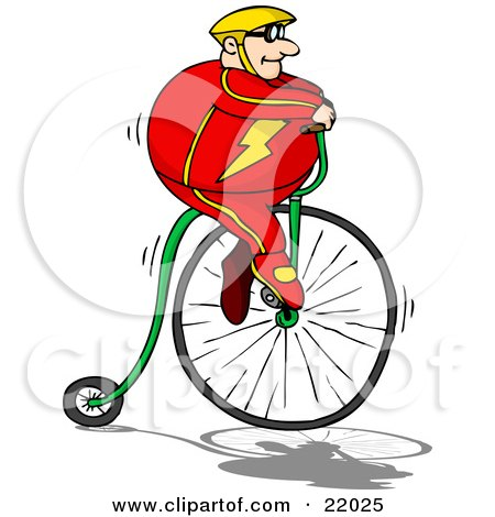 Clipart Illustration of a Pudgy Caucasian Man In A Red Suit And Yellow Helmet, Riding High Up On A Penny Farthing Bicycle by Holger Bogen