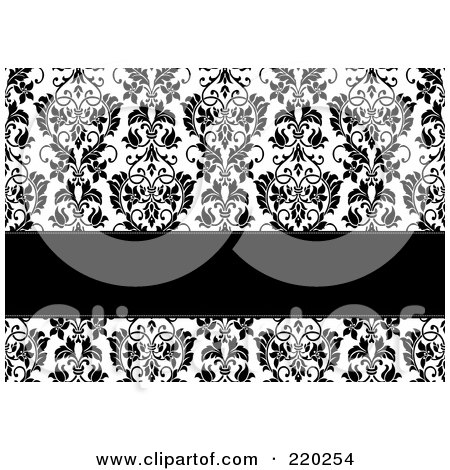 Royalty-Free (RF) Clipart Illustration of a Formal Black And White Floral Invitation Border With Copyspace - 14 by BestVector