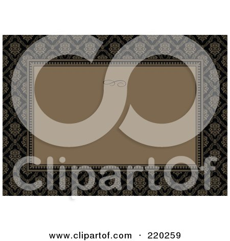 Royalty-Free (RF) Clipart Illustration of a Formal Invitation Design Of A Brown Box Over A Brown And Black Floral Pattern by BestVector