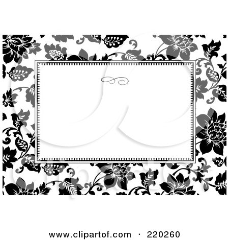 Royalty-Free (RF) Clipart Illustration of a Formal Black And White Floral Invitation Border With Copyspace - 26 by BestVector