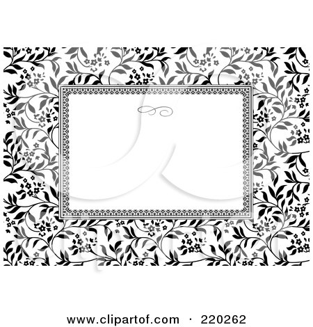 Royalty-Free (RF) Clipart Illustration of a Formal Invitation Design Of A White Box Over An Ivy Pattern by BestVector