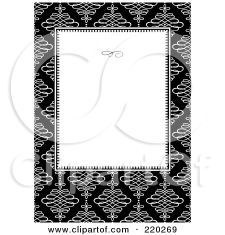 Royalty-Free (RF) Clipart Illustration of a Formal Invitation Design Of A White Box Over White Swirls On Black by BestVector