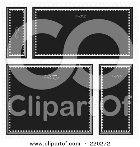 Royalty-Free (RF) Clipart Illustration of a Digital Collage Of Black Frame And Certificate Borders With Swirl Headers by BestVector