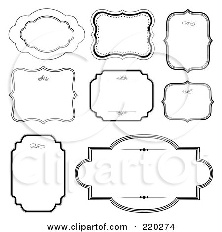 Royalty-Free (RF) Clipart Illustration of a Digital Collage Of Frame And Certificate Borders On White by BestVector
