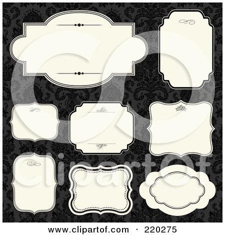 Royalty-Free (RF) Clipart Illustration of a Digital Collage Of Frame And Certificate Borders On Black Damask by BestVector