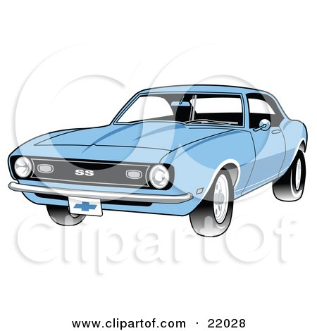 Clipart Illustration of a Light Blue 1968 Chevrolet SS Camaro Muscle Car With A Chrome Bumper by Andy Nortnik