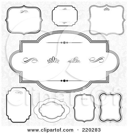 Royalty-Free (RF) Clipart Illustration of a Digital Collage Of Frame And Certificate Borders On Gray Floral by BestVector