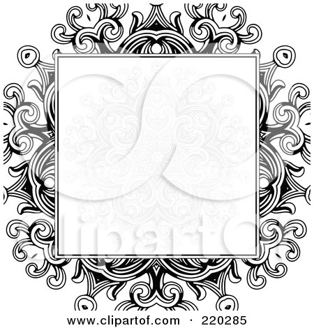 Royalty-Free (RF) Clipart Illustration of a Formal Invitation Design Of A Gray Floral Box Over A Black Floral Design On White by BestVector
