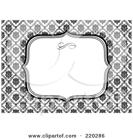 Royalty-Free (RF) Clipart Illustration of a Formal Black And White Floral Invitation Border With Copyspace - 16 by BestVector