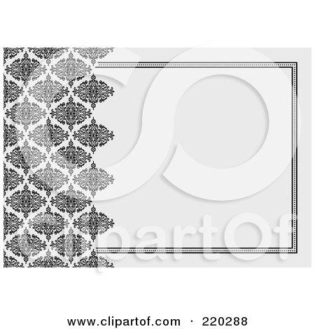 Royalty-Free (RF) Clipart Illustration of a Formal Invitation Design Of Black Damask Bordering Gray by BestVector