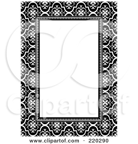 Royalty-Free (RF) Clipart Illustration of a Formal Invitation Design Of A White Box Over A Black And White Pattern by BestVector
