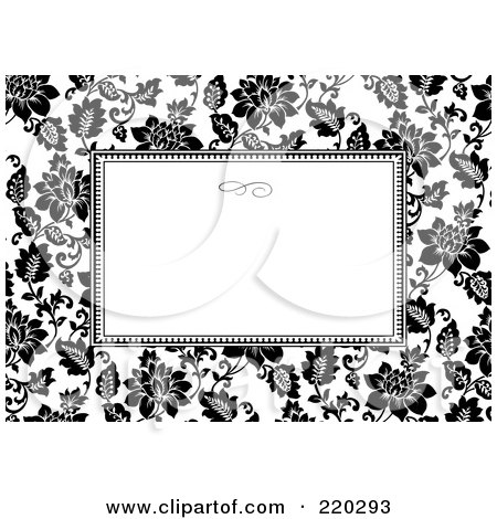 Royalty-Free (RF) Clipart Illustration of a Formal Black And White Floral Invitation Border With Copyspace - 25 by BestVector