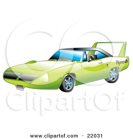 Clipart Illustration of a Green 1970 Plymouth Road Runner Superbird Racing Car With A Large Spoiler In The Back by Andy Nortnik