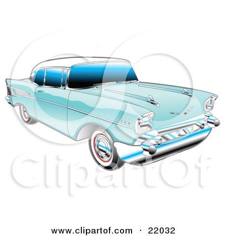 blue 1957 chevy bel air car
