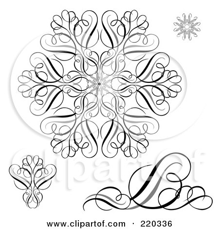 Royalty-Free (RF) Clipart Illustration of a Digital Collage Of Black And White Snowflake And Swirl Designs by BestVector