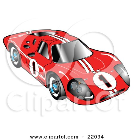 Red 1967 Ford Mark IV GT40 Racing Car With White Stripes And The Number 1 Posters, Art Prints