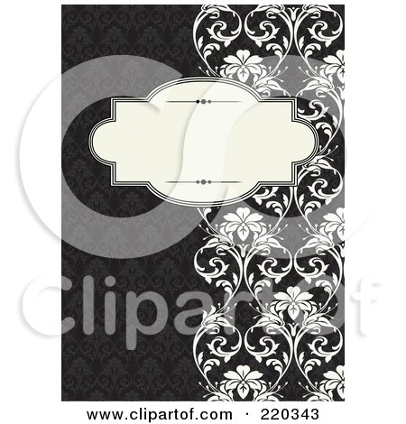 Royalty-Free (RF) Clipart Illustration of a Formal Black And White Floral Invitation Border With Copyspace - 35 by BestVector