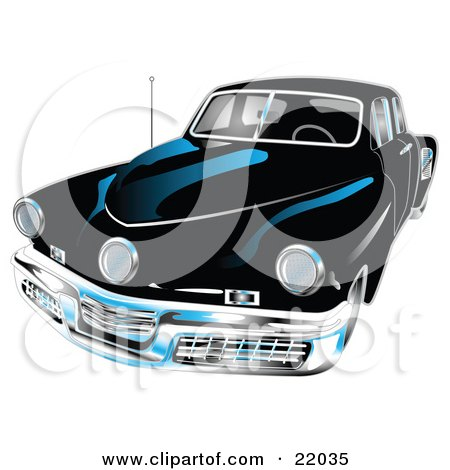 Clipart Illustration of a Black 1948 Tucker Car With A Chrome Bumper And Details by Andy Nortnik