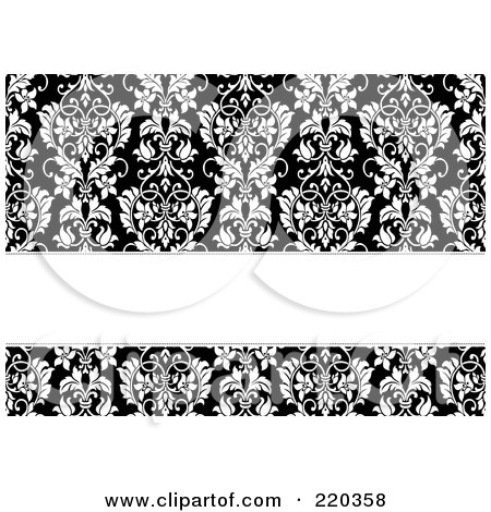 Royalty-Free (RF) Clipart Illustration of a Formal Black And White Floral Invitation Border With Copyspace - 50 by BestVector