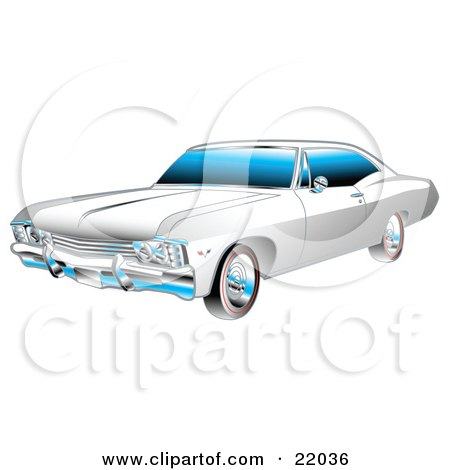 Clipart Illustration of a White And Chrome 1967 Chevrolet Ss Impala Muscle Car by Andy Nortnik