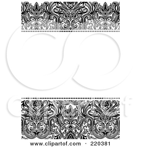 Royalty-Free (RF) Clipart Illustration of a Formal Black And White Floral Invitation Border With Copyspace - 29 by BestVector